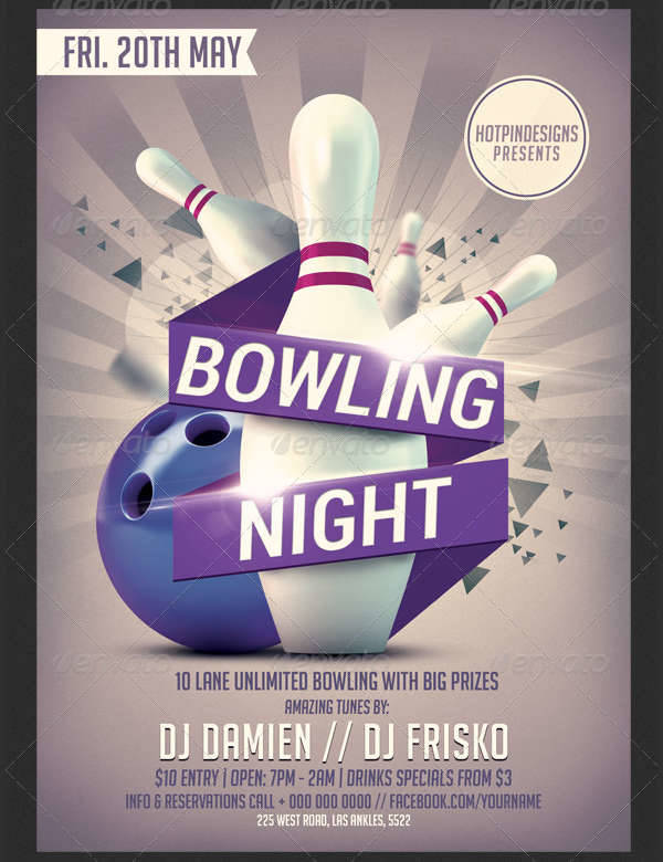 Bowling Flyer Template  Bowling Flyer Template Free