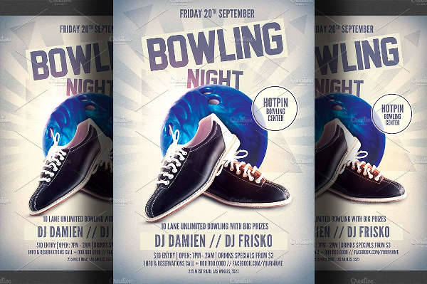 bowling night party flyer1