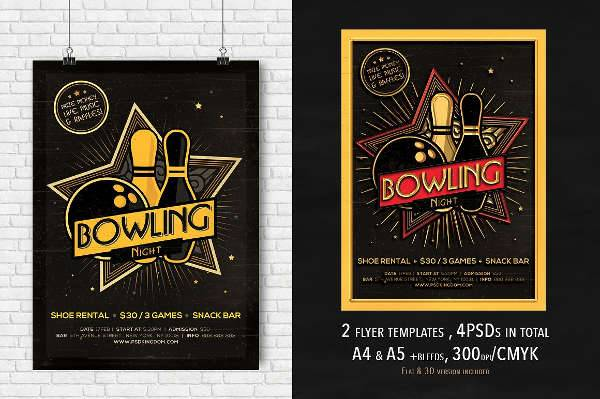 bowling party flyer design