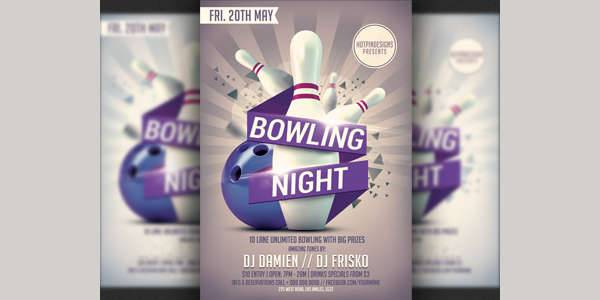bowling party flyer design1