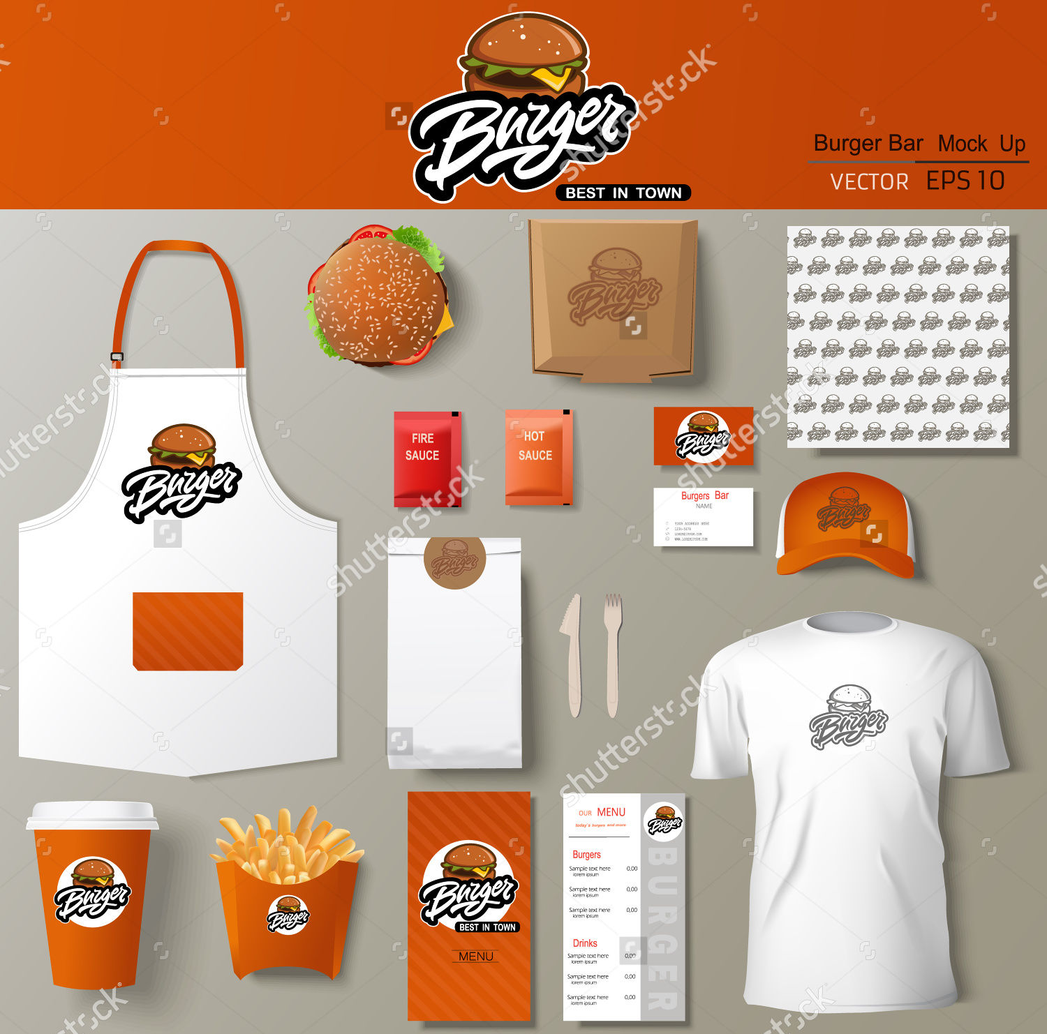 burger bar corporate identity template