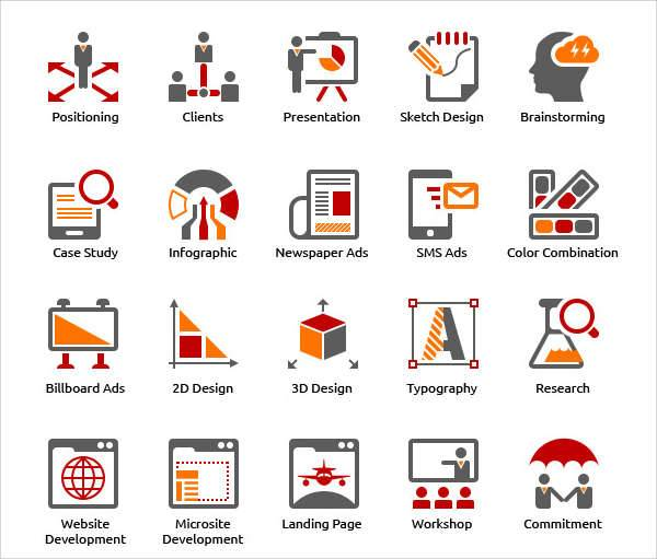 business advertising agency icons