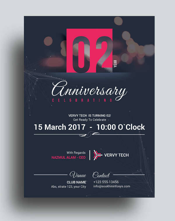 Business Anniversary Invitation Card