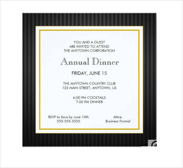Business Dinner Invitation Card