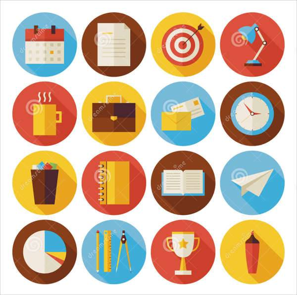business office round icons