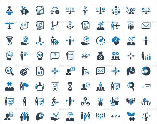 business planning management icons