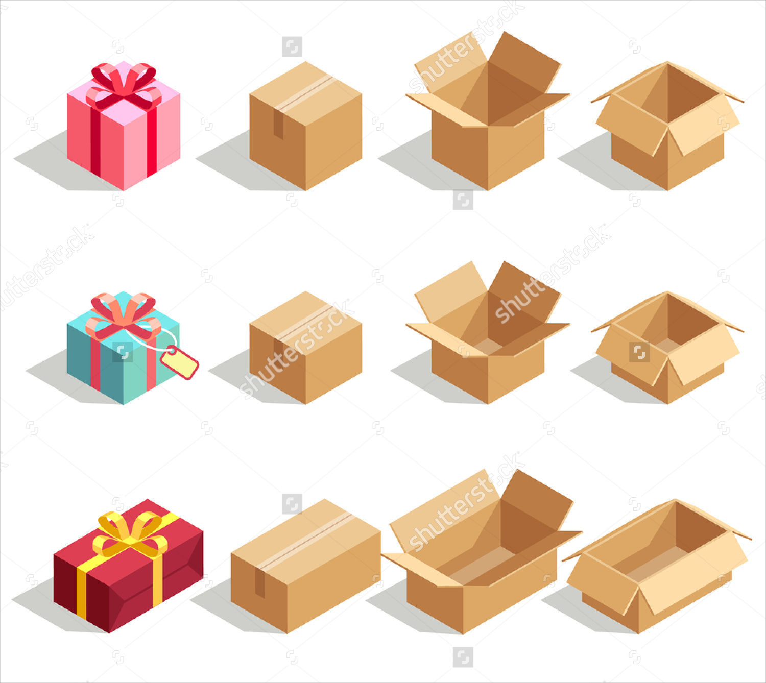 cardboard opened gift boxes