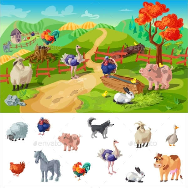 Cartoon Farms Animal Illustration