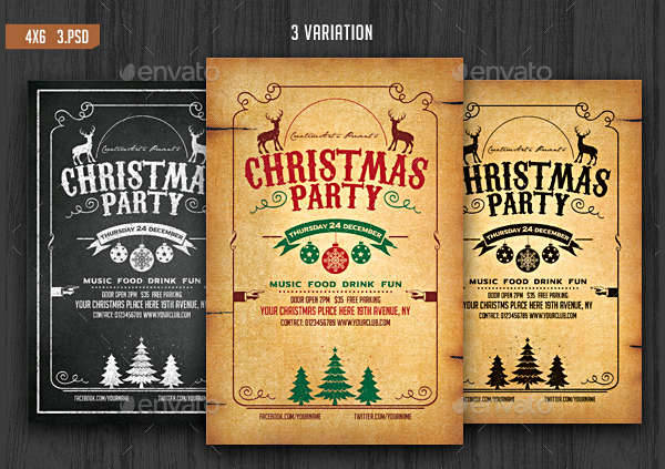 Chalkboard Christmas Party Flyer
