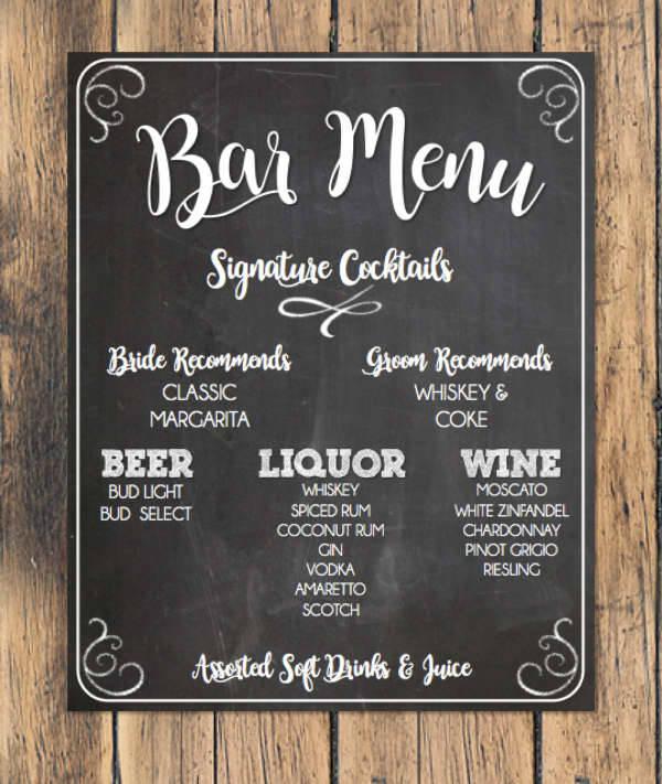Chalkboard Cocktail Bar Menu
