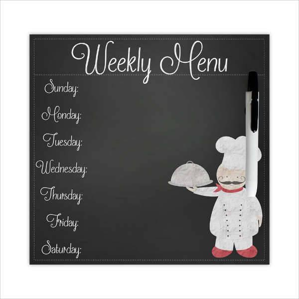 Chalkboard Dinner Weekly Menu