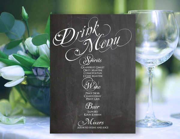Chalkboard Drink Menu Card