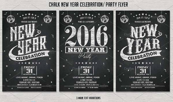 Chalkboard New Year Party Flyer