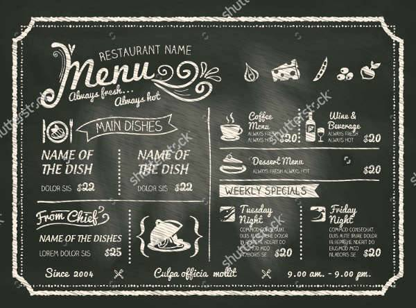 Chalkboard Restaurant Food Menu