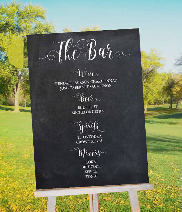 Chalkboard Retro Outdoor Wedding Bar Menu