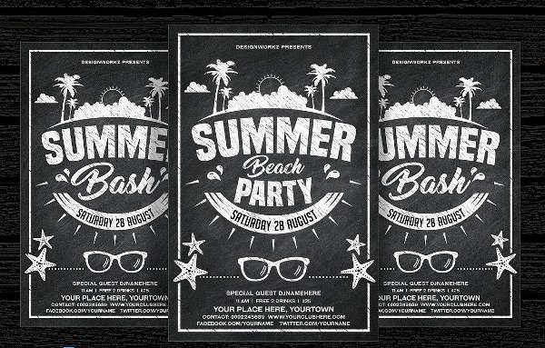 Chalkboard Summer Beach Party Flyer