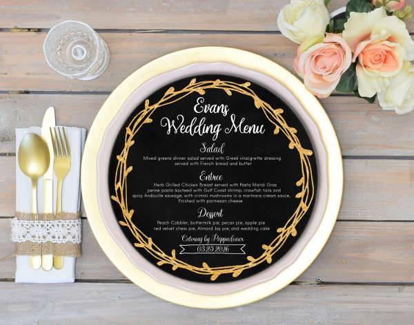 Chalkboard Wedding Menu Card