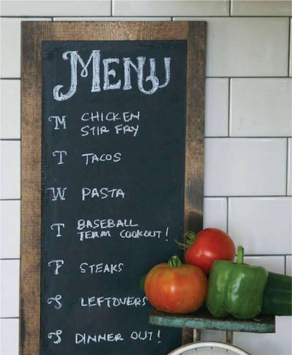 Chalkboard Weekly Menu Planner
