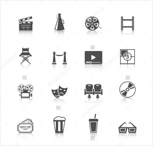 cinema vintage icons set
