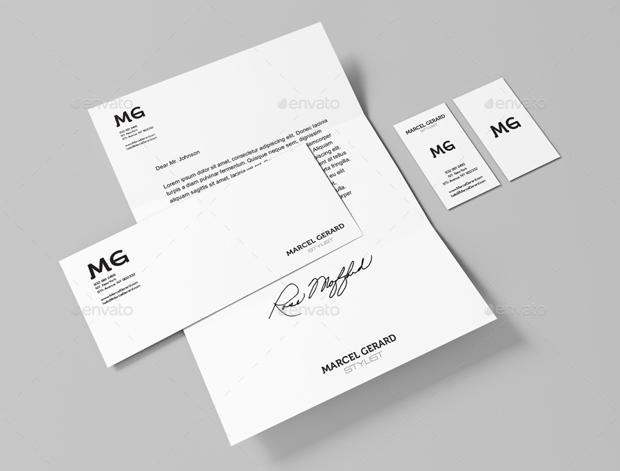 clean minimalist stationery design