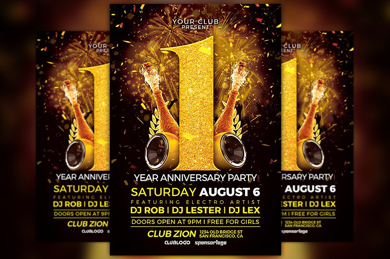 Club Anniversary Event Flyer