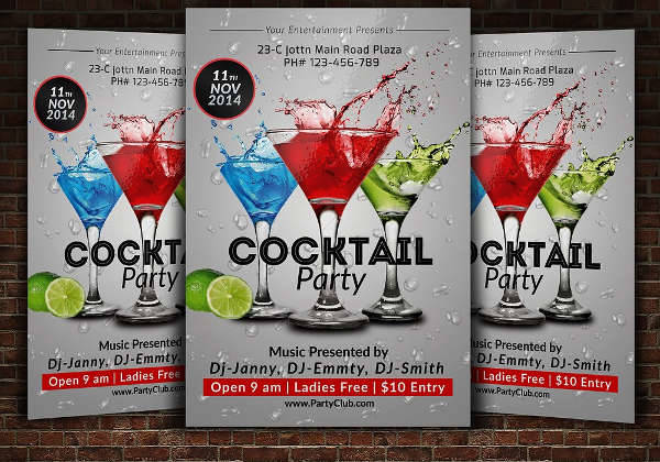 Cocktail And Drinks Party Flyer
