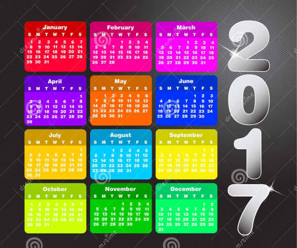 colorful abstract calendar