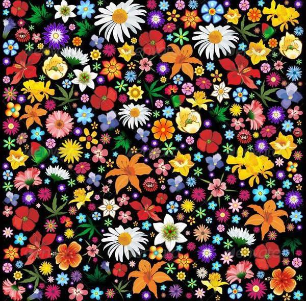 colorful spring and summer flowers pattern