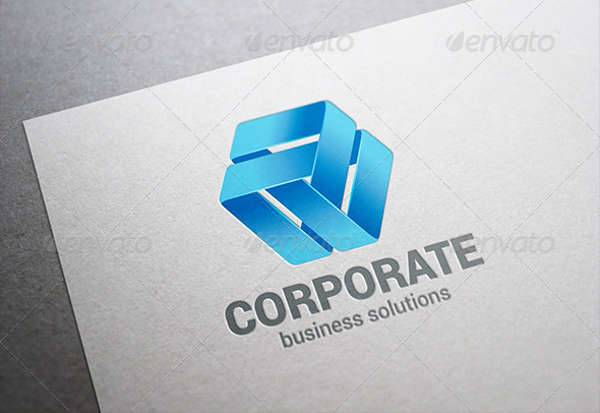 corporate abstract ribbon loop business logo