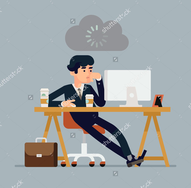 creative flat design businessmen desk