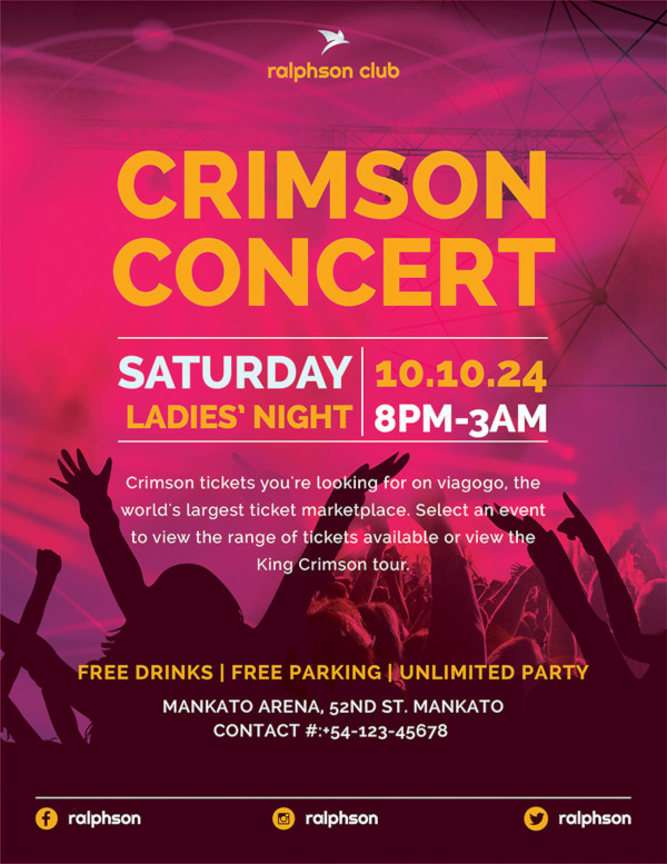 crimson concert flyer template