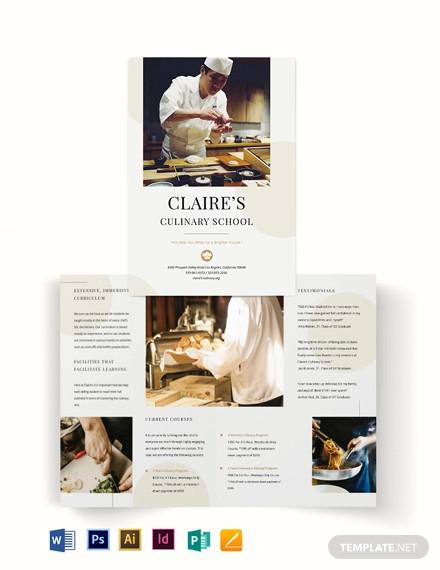 culinary school bi fold brochure template