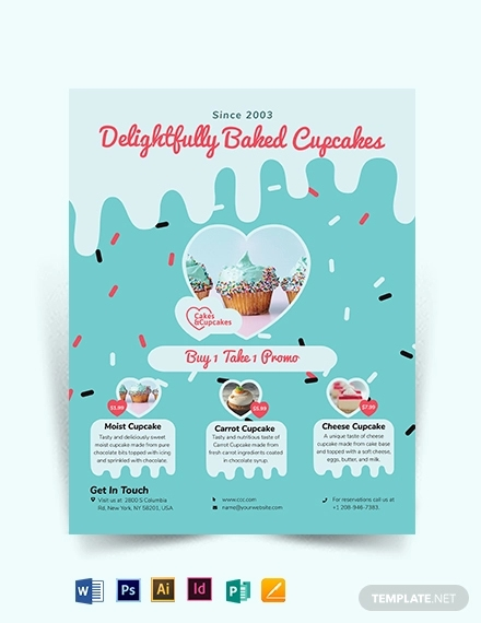cupcake bakery flyer template