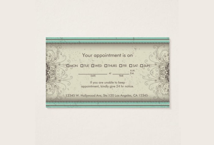 damask appointment card design
