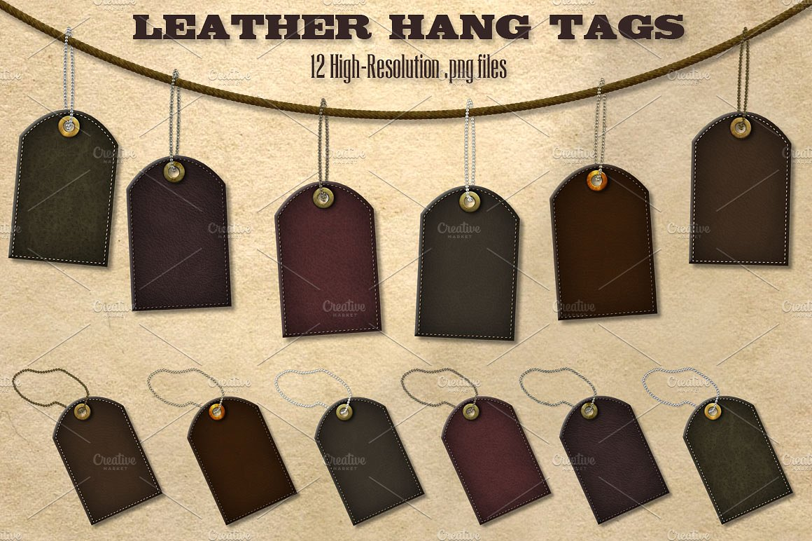 dark leather hang tags