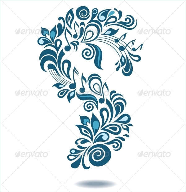Decorative Musical Floral Illustration