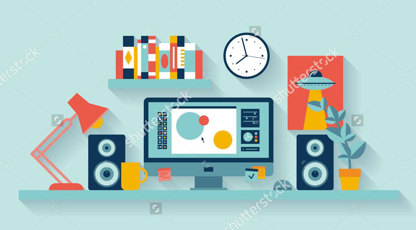 designers office flat illustration
