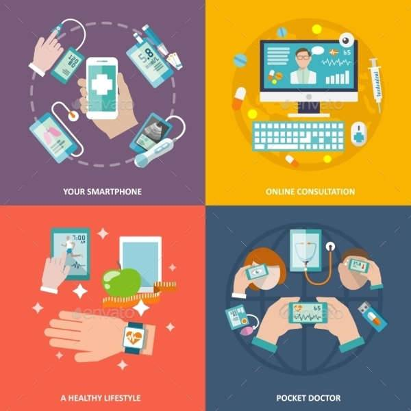 digital flat health icons set