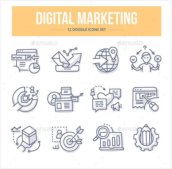 digital marketing doodle icons