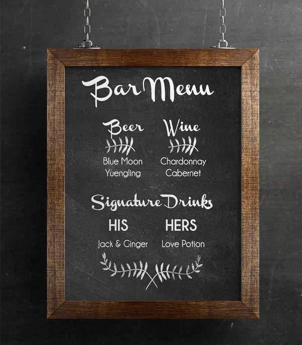 Diy Chalkboard Bar Menu