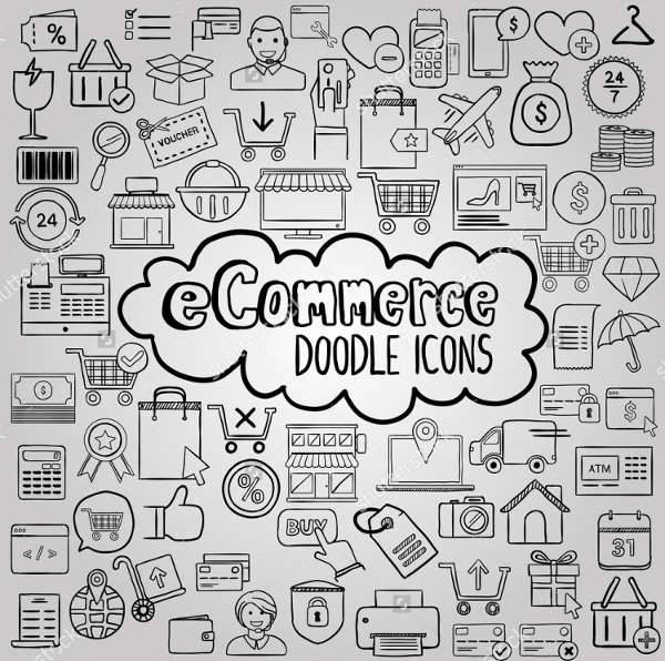 e commerce doodle icons