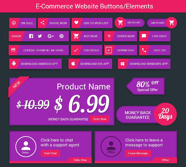 E-commerce Flat Buttons