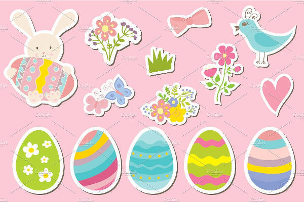Easter Vector Sticker Set