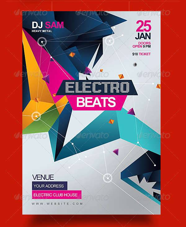 electro beats music party flyer