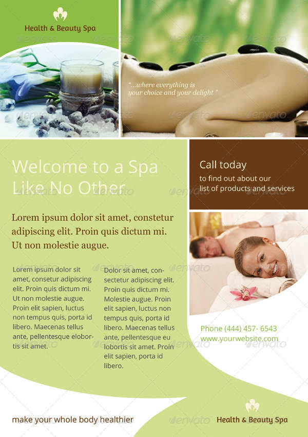 16 Spa Flyers Printable Psd Ai Vector Eps Format Download