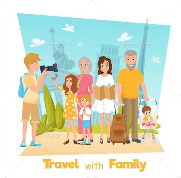 Family Travel Illustration