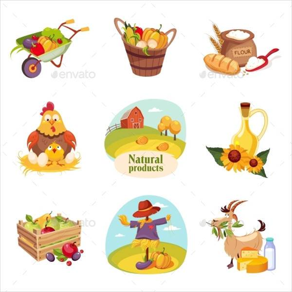 Farm Products and Animals Stickers Set