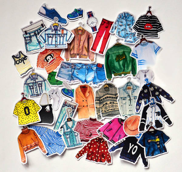 Fashion Clothes Stickers Set
