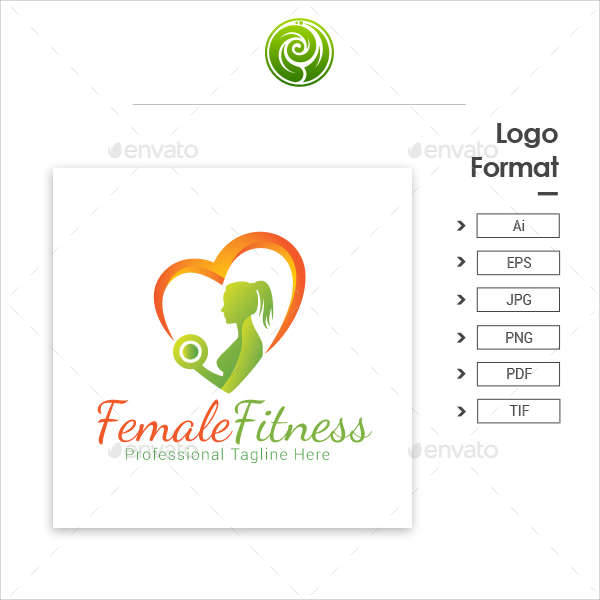 Female Fitness Logo Vector