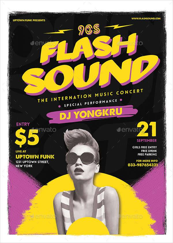 flash sound music party flyer
